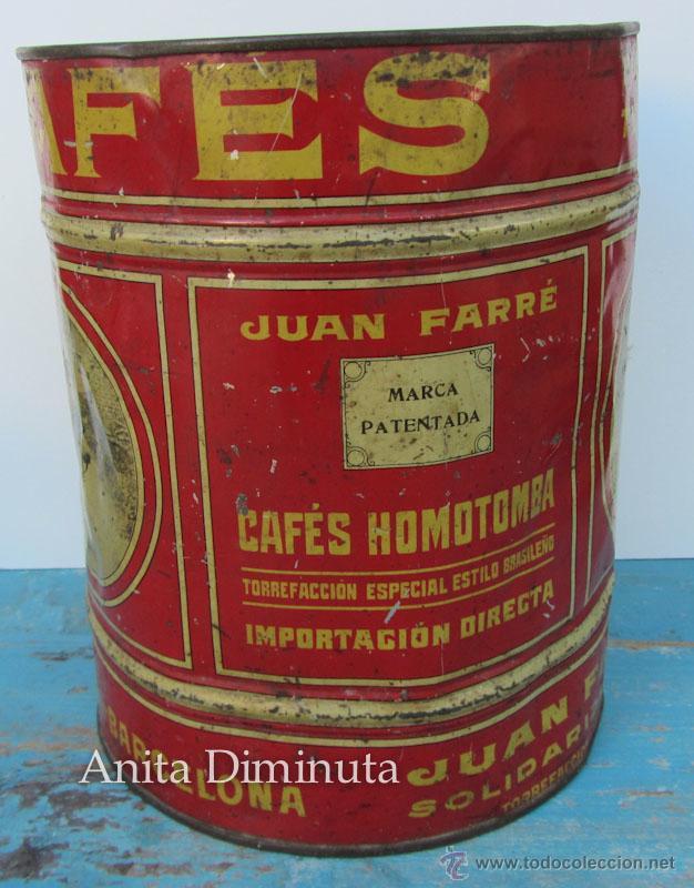 Cajas y cajitas metálicas: ANTIGUA Y RARISIMA CAJA DE CAFES - JUAN FARRE - SAN ANDRES BARCELONA - CASA HOMOTOMBA - TORREFACCION - Foto 4 - 40183657