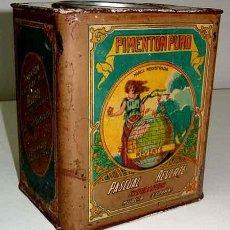 Cajas y cajitas metálicas: ANTIGUA CAJA DE HOJALATA LITOGRAFIADA AÑOS 20 CON PUBLICIDAD DE PIMENTON PASCUAL REVERTE - MIDE 20 . Lote 38235903
