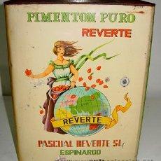Cajas y cajitas metálicas: ANTIGUA CAJA DE HOJALATA LITOGRAFIADA CON PUBLICIDAD DE PIMENTON PURO REVERTE - PIMENTON - ESPINARDO. Lote 38244408
