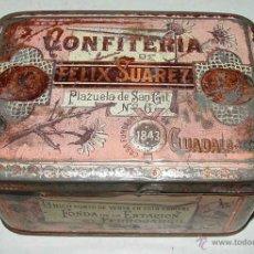 Cajas y cajitas metálicas: ANTIGUA CAJA DE HOJALATA LITOGRAFIADA CON PUBLICIDAD DE BIZCOCHOS BORRACHOS DE GUADALAJARA - CONFITE. Lote 38251483