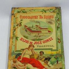Cajas y cajitas metálicas: ANTIGUA CAJA DE HOJALATA LITOGRAFIADA - PUBLICIDAD DE CHOCOLATES EL BARCO - HIJOS DE JOSE GOMEZ DE V. Lote 38252083