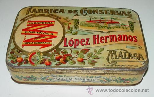 ANTIGUA CAJA HOJALATA LITOGRAFIADA - CON PUBLICIAD DE FABRICA DE CONSERVAS LOPEZ HERMANOS, MALAGA - (Coleccionismo - Cajas y Cajitas Metálicas)