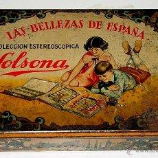 Cajas y cajitas metálicas: ANTIGUA CAJA DE HOJALATA LITOGRAFIADA CON PUBLICIDAD DE GALLETAS Y CHOCOLATES SOLSONA - CON ESTAS GA. Lote 38261128