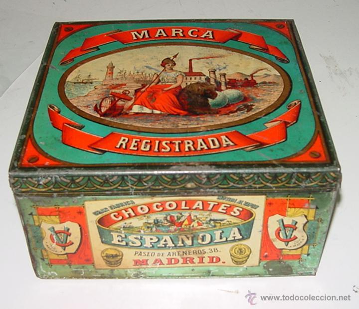 ANTIGUA CAJA DE HOJALATA LITOGRAFIADA CON PUBLICIDAD DE CHOCOLATES ESPAÑOLA, GRAN FABRICA MOVIDA AL (Coleccionismo - Cajas y Cajitas Metálicas)