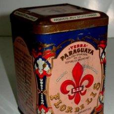 Cajas y cajitas metálicas: ANTIGUA CAJA DE HOJALATA LITOGRAFIADA CON PUBLICIDAD DE LA INDUSTRIAL PARAGUAYA - FLOR DE LIS - MIDE. Lote 38266422