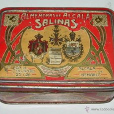 Cajas y cajitas metálicas: ANTIGUA CAJA DE HOJALATA LITOGRAFIADA CON PUBLICIDAD DE ALMENDRAS SALINAS - ALCALA DE HENARES - MIDE. Lote 38267279