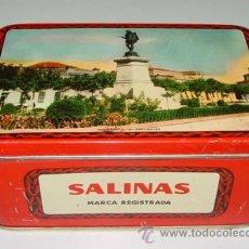 Cajas y cajitas metálicas: ANTIGUA CAJA DE HOJALATA LITOGRAFIADA CON PUBLICIDAD DE ALMENDRAS SALINAS - ALCALA DE HENARES - MIDE. Lote 38268004