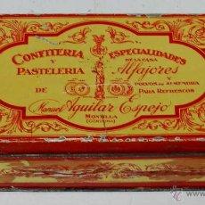 Cajas y cajitas metálicas: ANTIGUA CAJA DE HOJALATA LITOGRAFIADA DE CONFITERIA MANUEL AGUILAR ESPEJO - MONTILLA CORDOBA - LITOF. Lote 38268762