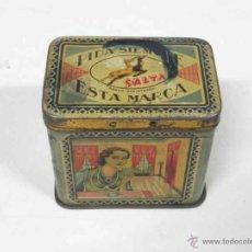 Cajas y cajitas metálicas: ANTIGUA CAJA DE HOJALATA LITOGRAFIADA CON PUBLICIDAD DE MANZANILLA SALTA - MURCIA - MIDE 7,2 X 5,5 C. Lote 38270945
