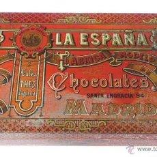 Cajas y cajitas metálicas: ANTIGUA CAJA DE HOJALATA LITOGRAFIADA CON PUBLICIDAD DE LA ESPAÑA - FABRICA MODELO CHOCOLATES CAFES . Lote 38271015