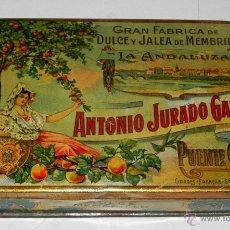 Cajas y cajitas metálicas: ANTIGUA CAJA DE HOJALATA LITOGRAFIADA DE MEMBRILLO LA ANDALUZA . ANTONIO JURADO GALVEZ. GRAN FABRICA. Lote 38276302