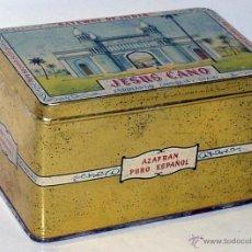 Cajas y cajitas metálicas: ANTGIUA CAJA DE DE HOJALATA LITOGRAFIADA CON PUBLICIDAD DE JESUS CANO, AZAFRAN, ESPINARDO (MURCIA), . Lote 38277877