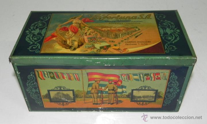 ANTIGUA CAJA DE HOJALATA LITOGRAFIADA CON PUBLICIDAD DE LA FORTUNA, FABRICA DE CHOCOLATES, GALLETAS (Coleccionismo - Cajas y Cajitas Metálicas)