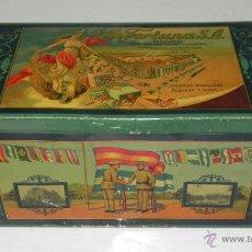 Cajas y cajitas metálicas: ANTIGUA CAJA DE HOJALATA LITOGRAFIADA CON PUBLICIDAD DE LA FORTUNA, FABRICA DE CHOCOLATES, GALLETAS . Lote 38280704