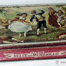 Cajas y cajitas metálicas: ANTIGUA CAJA DE HOJALATA LITOGRAFIADA CON PUBLICIDAD DE DULCE DE MEMBRILLO, CIRAGES FRANCAIS DE SANT. Lote 38282749
