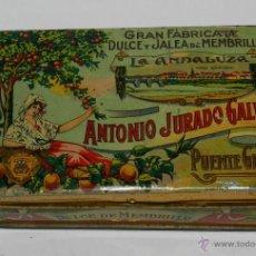 Cajas y cajitas metálicas: ANTIGUA CAJA DE HOJALATA LITOGRAFIADA DE MENBRILLO LA ANDALUZA . ANTONIO JURADO GALVEZ. GRAN FABRICA. Lote 38288326