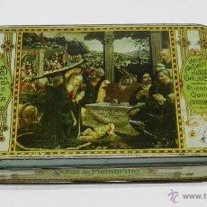 Cajas y cajitas metálicas: ANTIGUA CAJA DE HOJALATA LITOGRAFIADA DE MENBRILLO, ANTONIO JURADO GALVEZ. GRAN FABRICA DE DULCE Y J. Lote 38288556