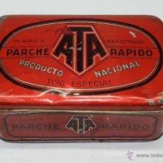 Cajas y cajitas metálicas: ANTIGUA CAJA DE HOJALATA LITOGRAFIADA DE PARCHE ATA RAPIDO, FABRICADA POR ANDREIS DE BADALONA - MIDE. Lote 40318874