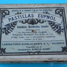 Cajas y cajitas metálicas: PASTILLAS EUPNOL. LABORATORIOS AURELIO GAMIR, VALENCIA. CAJA DE CARTON. Lote 40342456