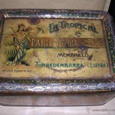 Cajas y cajitas metálicas: TORREDEMBARRA , CAJA LITOGRAFIADA LA TROPICAL,PABLO ROVIRA Y CNIA.LITG. TINTORE Y OLLER BARCELONA . Lote 40350852