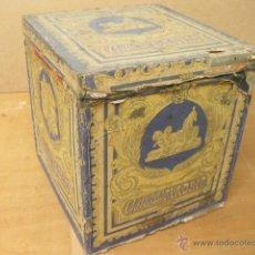 Cajas y cajitas metálicas: ANTIGUA CAJA DE LATA FORRADA DE PAPEL DE GALLETAS MADRID - RONDA DE SEGOVIA 16. Lote 40433700