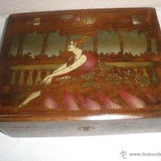 Cajas y cajitas metálicas: ANTIGUA CAJA DE MADERA DECORADA AÑOS 30. Lote 40631254
