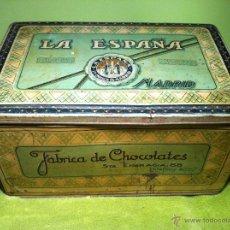 Cajas y cajitas metálicas: GRAN CAJA DE CHOCOLATES LA ESPAÑA. MADRID. SANTA ENGRACIA, 86. UNA PRECIOSIDAD.. Lote 40720820