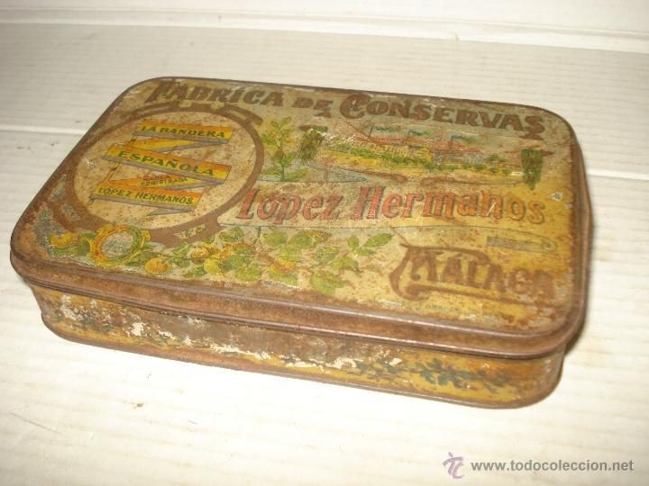 Cajas y cajitas metálicas: Caja Hojalata Litografiada LOPEZ HERMANOS Fabrica Conservas LA BANDERA ESPAÑOLA Bandera Repubicana - Foto 2 - 40795792
