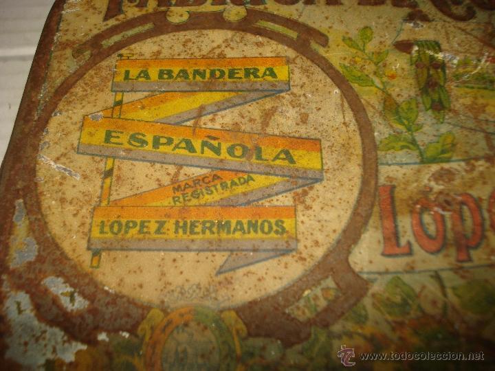 Cajas y cajitas metálicas: Caja Hojalata Litografiada LOPEZ HERMANOS Fabrica Conservas LA BANDERA ESPAÑOLA Bandera Repubicana - Foto 3 - 40795792