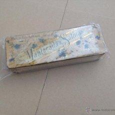 Cajas y cajitas metálicas: ANTIGUA CAJA LITOGRAFIADA MANTECADOS SALINAS LITOGRAFIADA CIRAGES FRANÇAIS SANTANDER. Lote 40889795