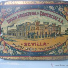 Cajas y cajitas metálicas: BONITA Y RARA LATA LITOGRAFIADA DE CARNE MEMBRILLO -UNION INDUSTRIAL Y COMERCIAL - SEVILLA-. Lote 41080541