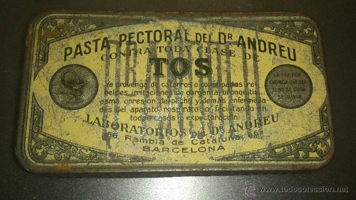 ANTIGUA CAJA METALICA FARMACIA PASTA PECTORAL DR. ANDREU PASTILLAS TOS BARCELONA (Coleccionismo - Cajas y Cajitas Metálicas)