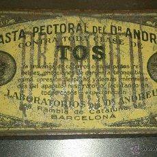 Cajas y cajitas metálicas: ANTIGUA CAJA METALICA FARMACIA PASTA PECTORAL DR. ANDREU PASTILLAS TOS BARCELONA. Lote 41214044