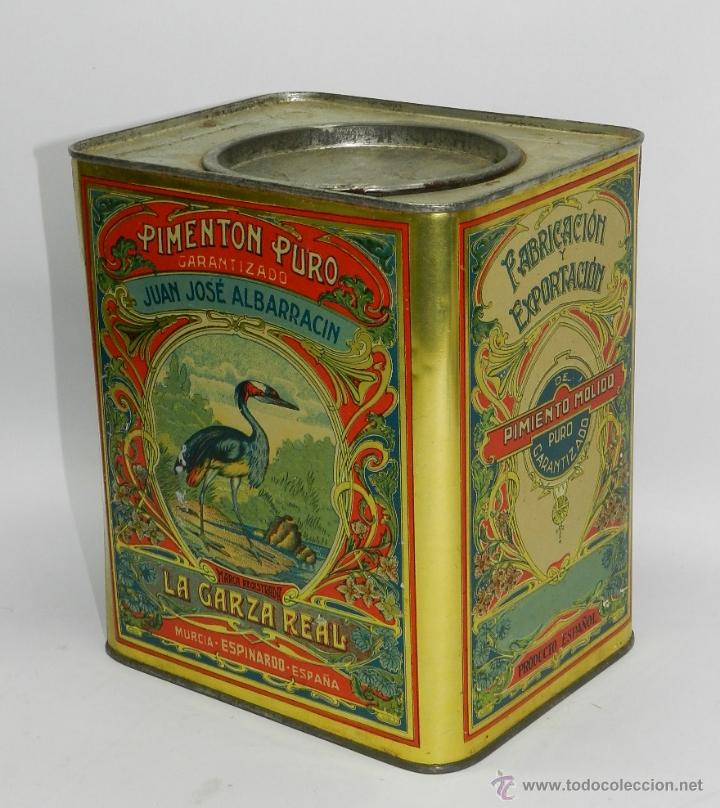 CAJA DE HOJALATA CON PUBLICIDAD DE PIMENTÓN LA GARZA REAL - JUAN JOSÉ ALBARRACÍN Y CÍA ESPINARDO MUR (Coleccionismo - Cajas y Cajitas Metálicas)