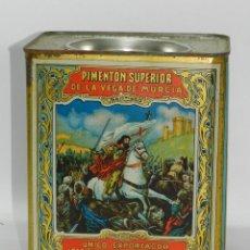 Cajas y cajitas metálicas: CAJA DE HOJALATA LITOGRAFIADA CON PUBLICIDAD DE PIMENTON, ESPINARDO, MURCIA - EXPORTADOR JOSE FLORES. Lote 41681898