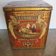 Cajas y cajitas metálicas: ANTIGUA CAJA DE HOJALATA DE ALBACETE - LA FAVORITA - FABRICA DE DULCES - HNOS. MATARREDONA, S.A. - T. Lote 41722244