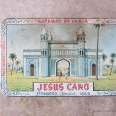 Cajas y cajitas metálicas: ANTIGUA CAJA DE HOJALATA LITOGRAFIADA DE JESUS CANO - ESPINARDO -MURCIA - AZAFRAN PURO ESPAÑOL - 13 . Lote 41722877