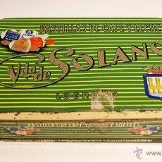 Cajas y cajitas metálicas: VDA. DE SOLANO - PASTILLAS DE CAFÉ Y LECHE - LOGROÑO Nº7 - 250 GRS. - 18,5 CM. * 11,5 CM. * 4,5 CM.. Lote 41740742