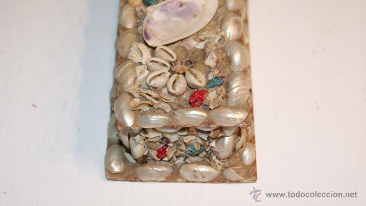 Cajas y cajitas metálicas: Caja o Cajita forrada de papel con conchas decorativas - Antigua - Foto 2 - 41817785