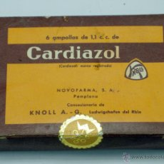 Boîtes et petites boîtes métalliques: CAJA CON AMPOLLAS CARDIAZOL FARMACIA NOVOFARMA PAMPLONA LAB KNOLL LUDWIGSHAFEN RHIN AÑOS 40. Lote 42325564