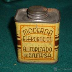 Cajas y cajitas metálicas: LATA METALICA MUESTRA DE ACEITE RECUPERADO - AÑOS 30 - AUTORIZADO POR CAMPSA. Lote 42572926