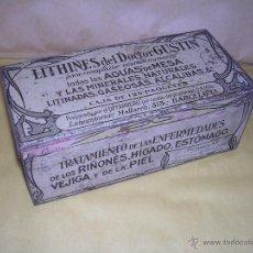 Cajas y cajitas metálicas: ANTIGUA CAJA METALICA LITOGRAFIADA LITHINES DEL DR. GUSTIN PREP. POR EL DR. FARRERO ,MALLORCA 313 BA. Lote 42850703