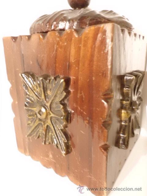 Cajas y cajitas metálicas: ANTIGUA CAJA DE MADERA TALLADA - Foto 4 - 42923073
