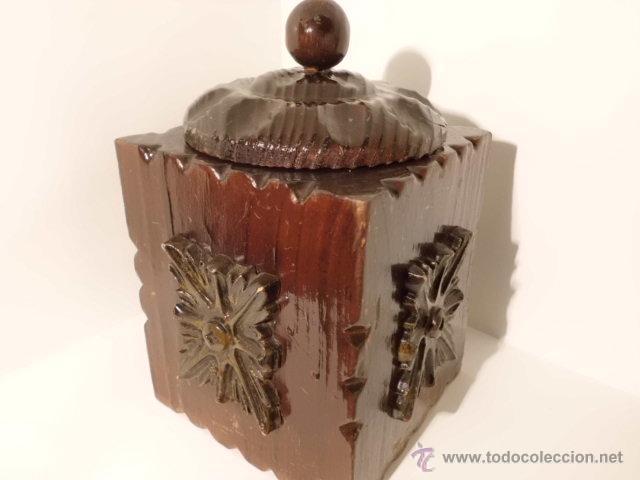 Cajas y cajitas metálicas: ANTIGUA CAJA DE MADERA TALLADA - Foto 6 - 42923073