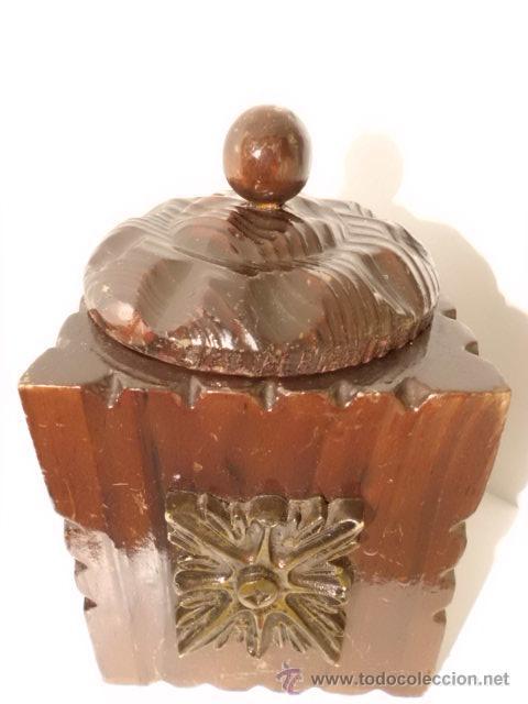 Cajas y cajitas metálicas: ANTIGUA CAJA DE MADERA TALLADA - Foto 7 - 42923073