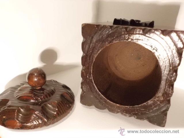 Cajas y cajitas metálicas: ANTIGUA CAJA DE MADERA TALLADA - Foto 12 - 42923073