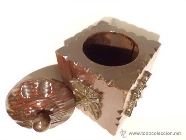 Cajas y cajitas metálicas: ANTIGUA CAJA DE MADERA TALLADA - Foto 13 - 42923073