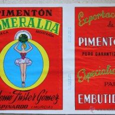Cajas y cajitas metálicas: LITOGRAFÍA PARA LATA DE PIMENTÓN ESMERALDA. Lote 43087586