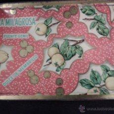 Cajas y cajitas metálicas: CAJA METÁLICA LA MILAGROSA, PUENTE GENIL. DULCE DE MEMBRILLO. Lote 43402067