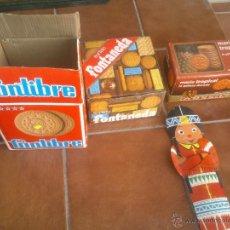 Cajas y cajitas metálicas: ANTIGUAS CAJAS DE GALLETAS FONTIBRE FONTANEDA GULLON DULCIORA. Lote 43557548
